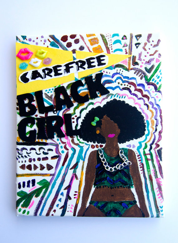 Carefree Black Girl painting